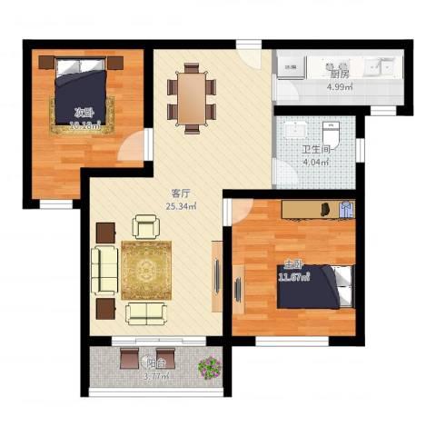 米兰诺贵都2室1厅1卫1厨75.00㎡户型图