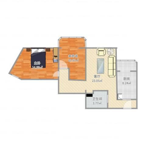 北苑家园紫绶园1室1厅1卫1厨76.00㎡户型图