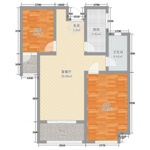 财富公馆2室2厅1卫1厨90.00㎡户型图