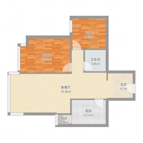 天通苑西三区2室2厅1卫1厨84.00㎡户型图
