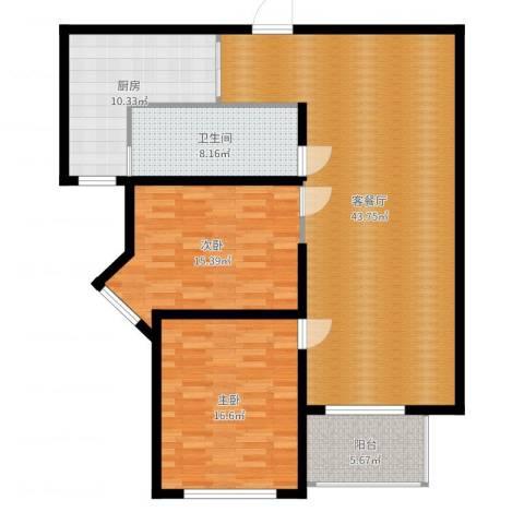 香江湾2室2厅1卫1厨125.00㎡户型图