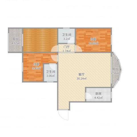 九州花园5-6032室1厅2卫1厨100.00㎡户型图