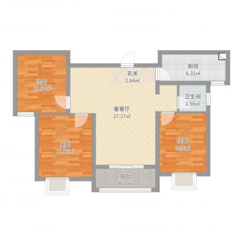 邹城水印兰亭3室2厅1卫1厨91.00㎡户型图