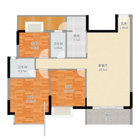 丰泰裕田花园3室2厅2卫1厨130.00㎡户型图