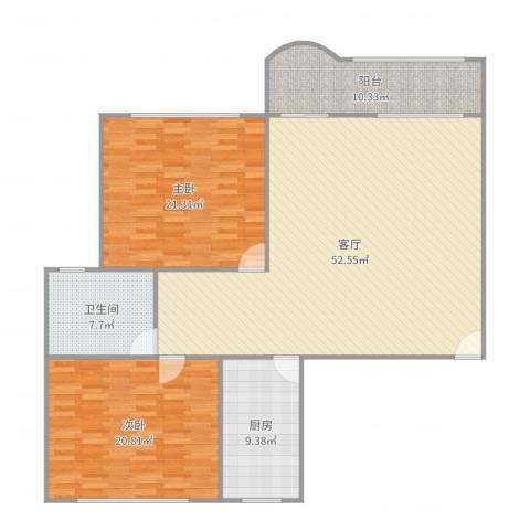 宝宸共和家园2室1厅1卫1厨153.00㎡户型图