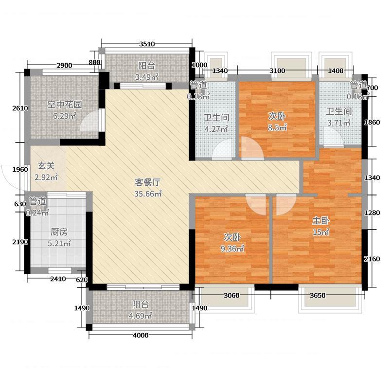 保利紫山124.14㎡8#04户型3室3厅2卫1厨