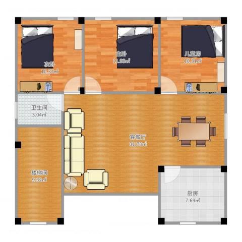 大金鼓广场3室2厅1卫1厨106.00㎡户型图