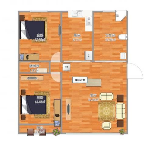 宝城三村2室1厅1卫1厨103.00㎡户型图