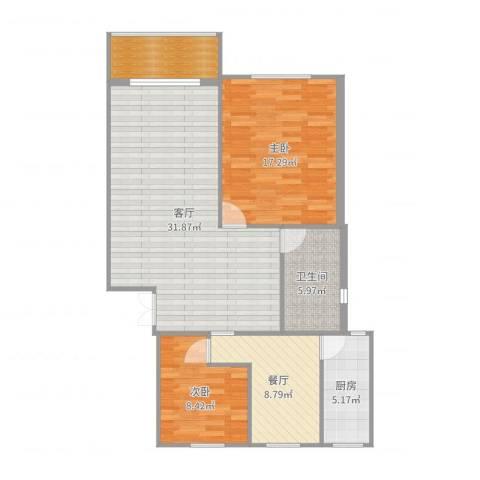 宝城一村2室2厅2卫1厨103.00㎡户型图