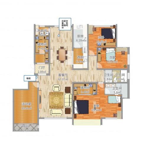 银丰唐郡,桂花园3室2厅3卫1厨236.00㎡户型图