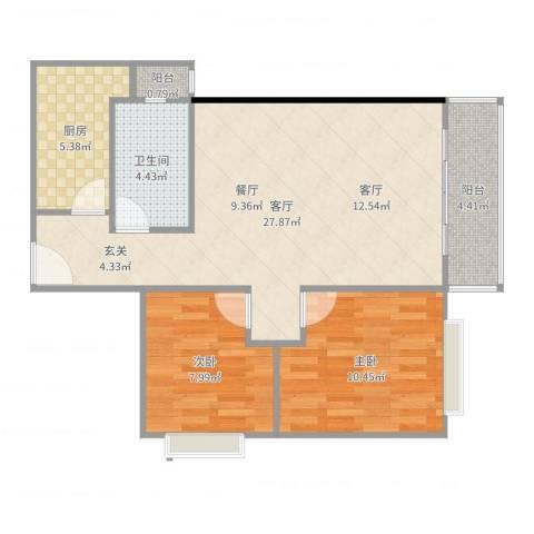 海珠信步闲庭2室1厅1卫1厨77.00㎡户型图