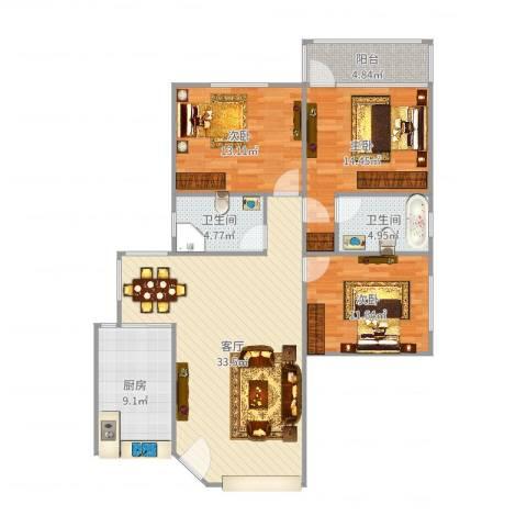 吉大豪苑3室1厅2卫1厨120.00㎡户型图