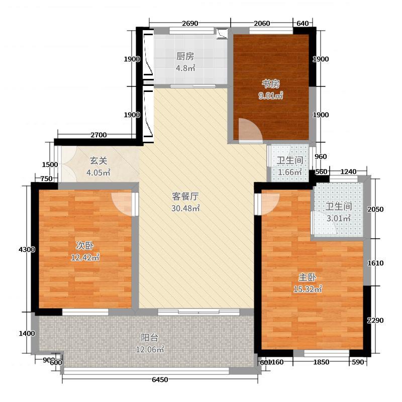 宝马花园125.14㎡12514户型3室3厅2卫