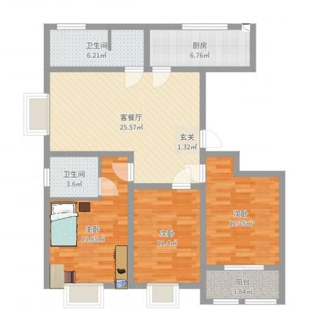水印兰亭3室2厅2卫1厨105.00㎡户型图