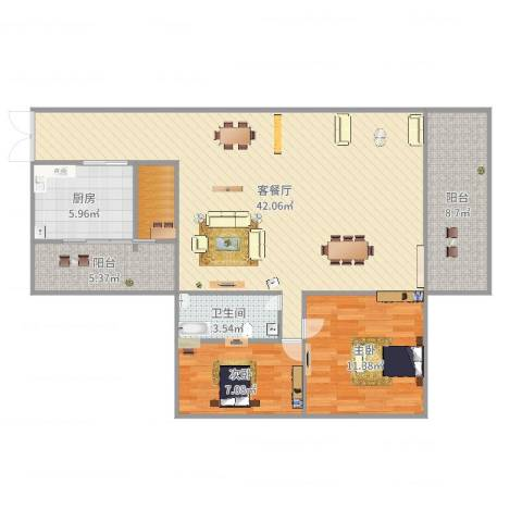 江南名居二期7022室2厅1卫1厨108.00㎡户型图