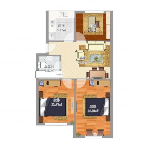 大步小区3室1厅1卫1厨71.00㎡户型图