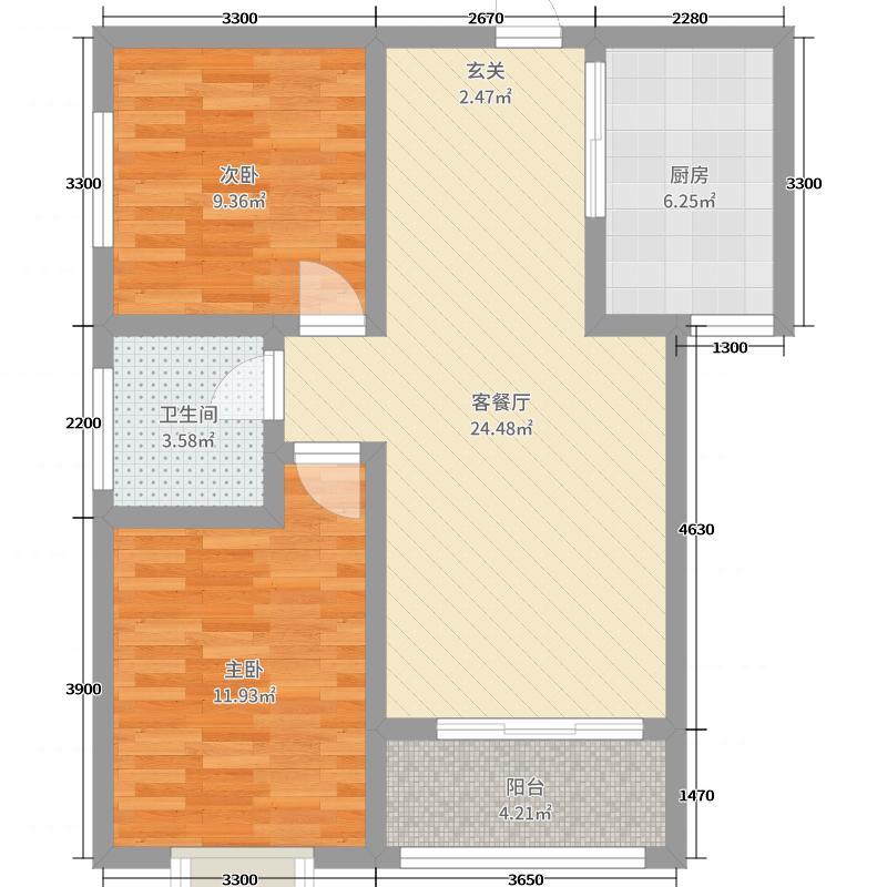 亿润领城红郡锦绣85.00㎡4号楼03户型2室2厅1卫1厨