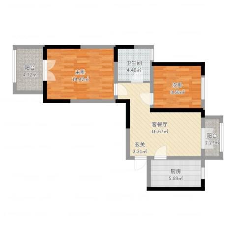 浦江瑞和城2室2厅1卫1厨71.00㎡户型图