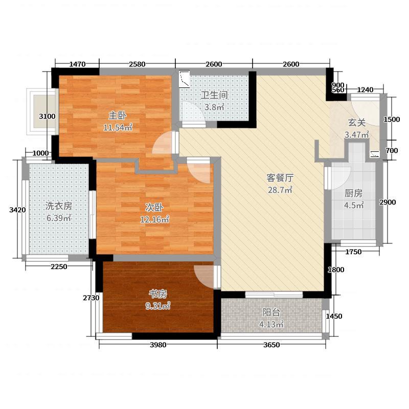 锦舍公寓119.35㎡A1户型3室3厅1卫1厨