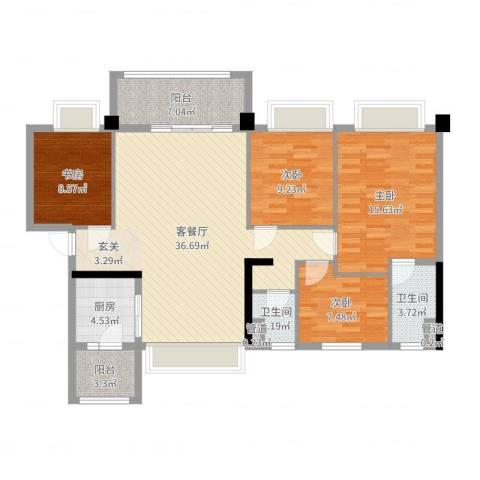 如皋碧桂园4室2厅2卫1厨123.00㎡户型图