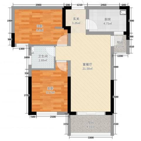 龙湖湘风星城2室2厅1卫1厨77.00㎡户型图