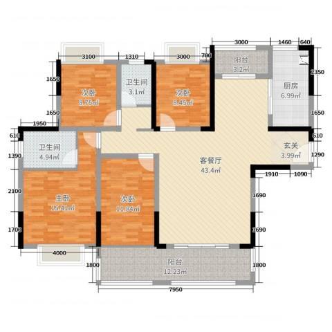 金地湖山大境4室2厅2卫1厨136.00㎡户型图