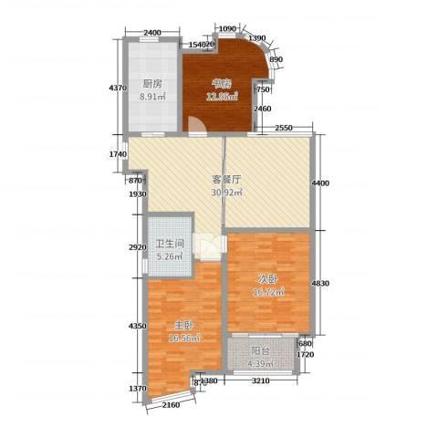 富都豪园3室2厅1卫1厨120.00㎡户型图