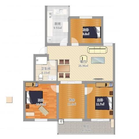 金龙花园4室1厅1卫1厨128.00㎡户型图