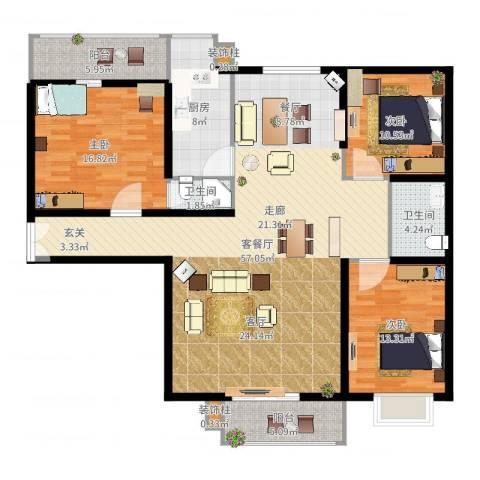 新康花园3室2厅2卫1厨154.00㎡户型图