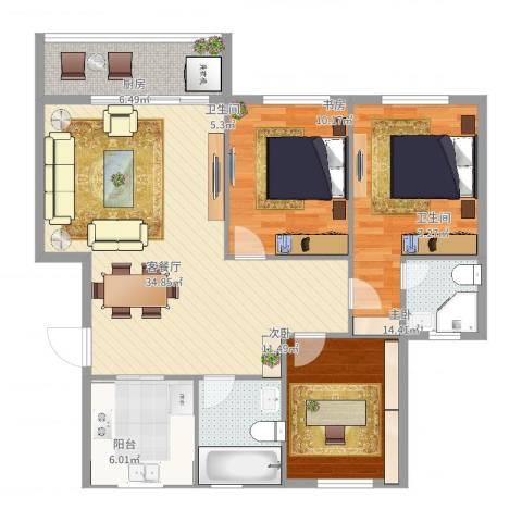 朱佳苑3室2厅2卫1厨115.00㎡户型图