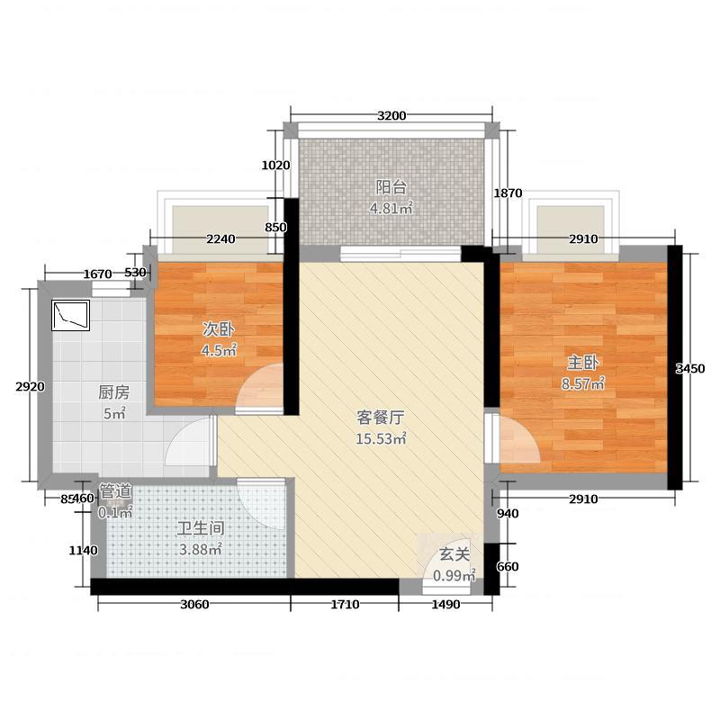 金泽豪庭53.00㎡3期隽府131417栋02户型2室2厅1卫1厨