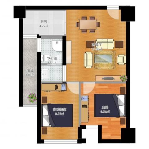 司南3空间1室2厅1卫1厨60.00㎡户型图