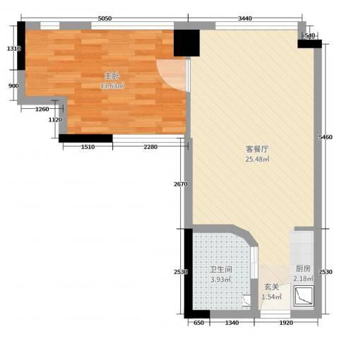 四海城1室2厅1卫0厨53.00㎡户型图