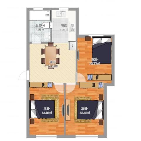 新河花园3室1厅1卫1厨73.00㎡户型图