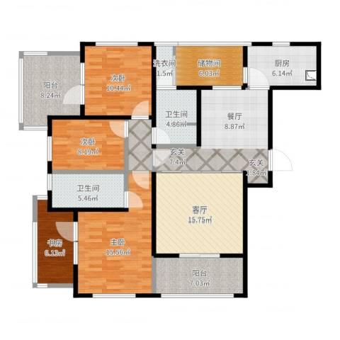 虹锦湾4室1厅2卫1厨142.00㎡户型图