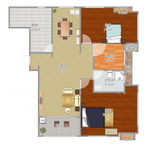 虹锦湾3室1厅1卫1厨147.00㎡户型图