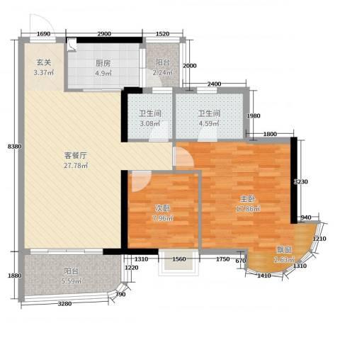 青春2室2厅2卫1厨92.00㎡户型图