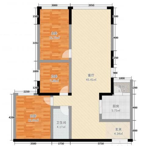 金源达・时代广场3室1厅1卫1厨90.08㎡户型图