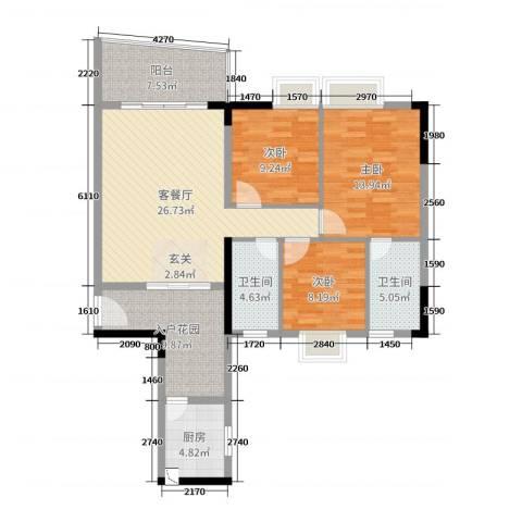 青春3室2厅2卫1厨113.00㎡户型图