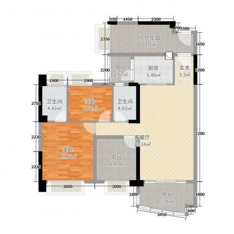 悦盈新城2室2厅2卫1厨120.00㎡户型图