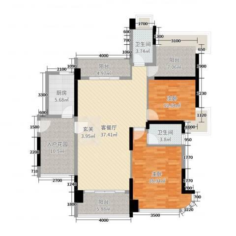 悦盈新城2室2厅2卫1厨130.00㎡户型图