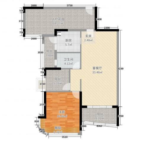 悦盈新城1室2厅1卫1厨118.00㎡户型图