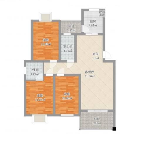 紫薇花园3室2厅2卫1厨109.00㎡户型图