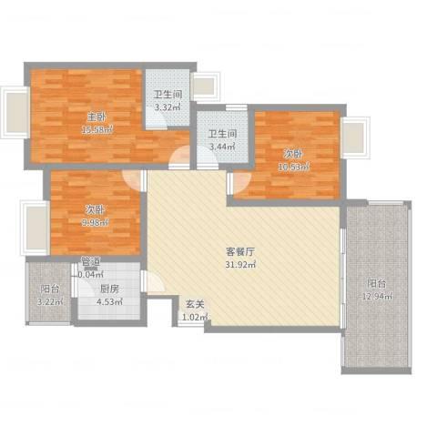 恒森・滨湖晓月3室2厅2卫1厨95.49㎡户型图