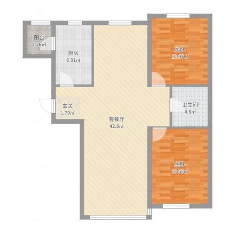 城市之星2室2厅1卫1厨103.00㎡户型图