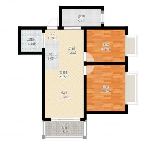 嘉园小区2室2厅1卫1厨76.00㎡户型图