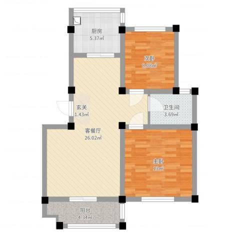 恒通大厦2室2厅1卫1厨76.00㎡户型图