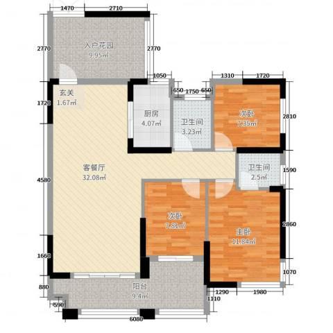 紫鑫御湖湾3室2厅2卫1厨100.00㎡户型图