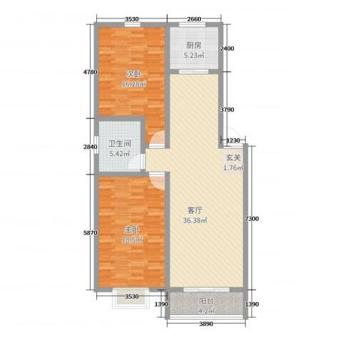 阳光海岸荷兰新城2室1厅1卫1厨109.00㎡户型图