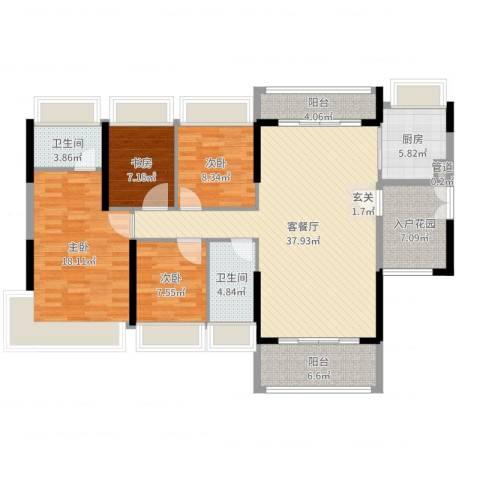 东建锦绣龙湾4室2厅2卫1厨158.00㎡户型图